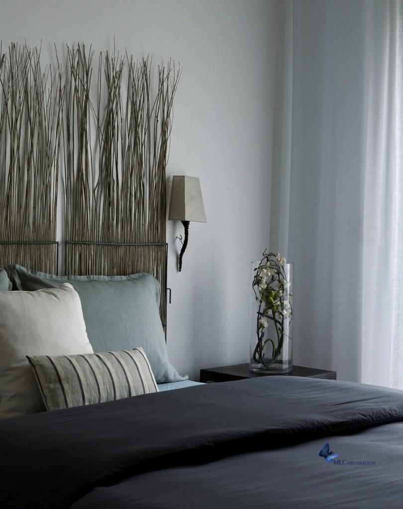 T te de lit bois t te de lit d co for Tete de lit avec tapisserie