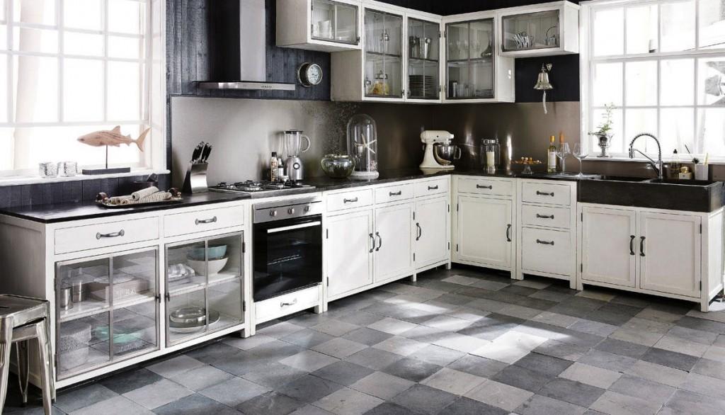 cuisine meubles l ments ind pendants en bois patin ou blanc. Black Bedroom Furniture Sets. Home Design Ideas