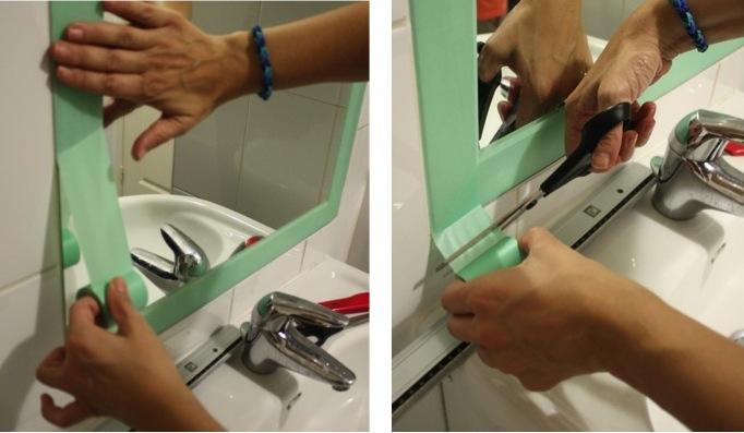 Diy d co facile masking tape et encadrement de miroir for Frise autocollante pour salle de bain