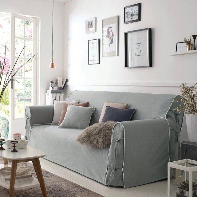 Canap blanc en lin s lection le blog d co de mlc - Housse canape maison du monde ...