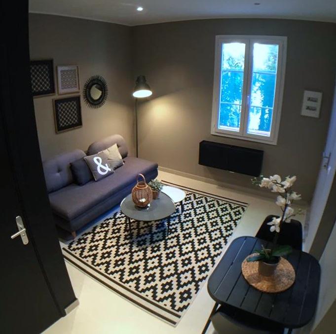studio déco style boudoir - noir et taupe