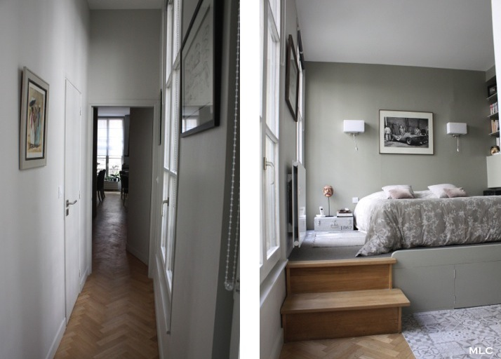 Le shabby chic contemporain d 39 un appartement parisien - Deco mur couloir ...