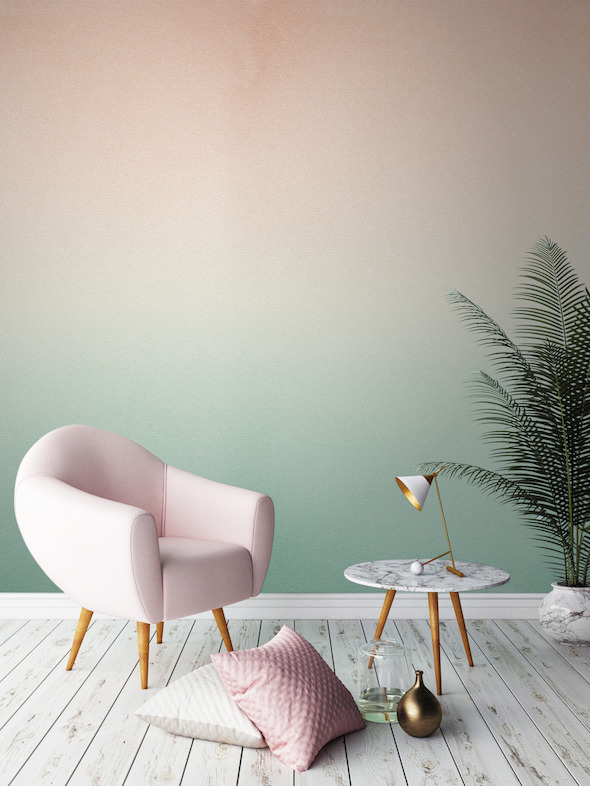 plante-verte-couleur-pastel-degrade-mur-vert-peach-tropical-home