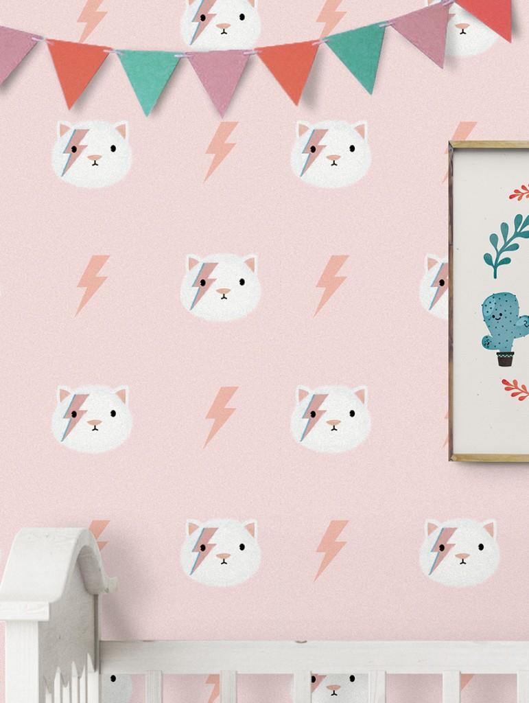 deco-chambre-fille-kitty-papier-peint-papermint