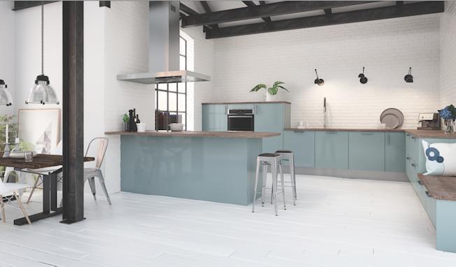 Hygena Salle De Bains : Cuisine couleur pastel bleu clair ou vert