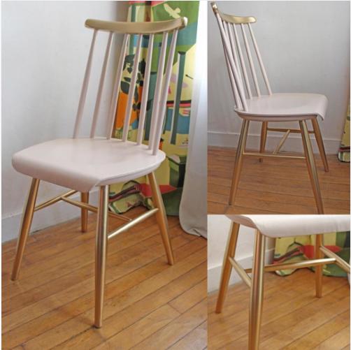 chaise-en-bois-scandinave-vintage-dore-et-rose