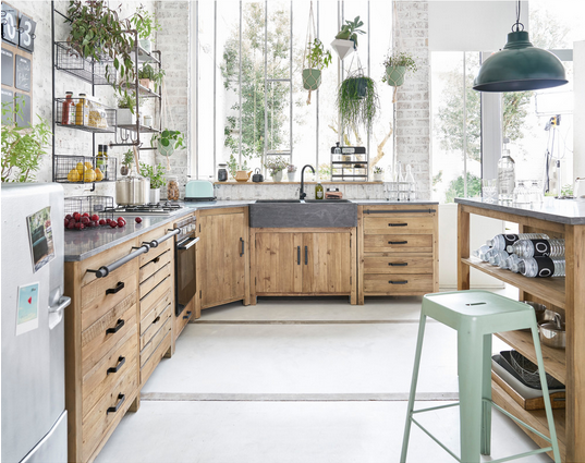 Meubles de cuisine ind pendant et ilot maison du monde - Cuisine meuble bois ...