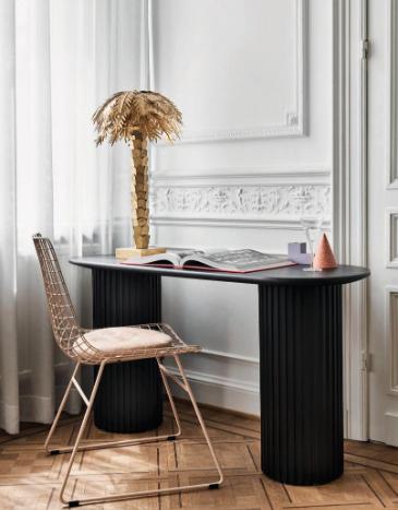 lampe palmier laiton sur console bureau